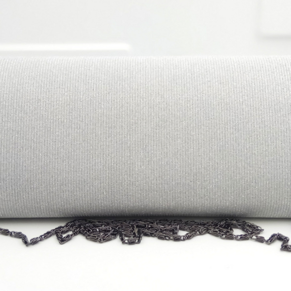 Silver Sparkle Clutch with Black Topaz Accent