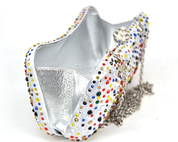 Rainbow Confetti Sparkle White Satin Evening Bag Clutch