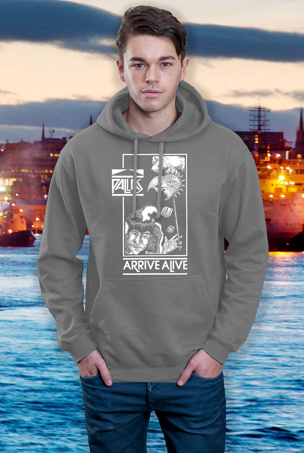 Pallas Hoody ::  Arrive Alive <p> In Black, Red and Grey Custom T Shirt by Lets Get Shirty Dot Com