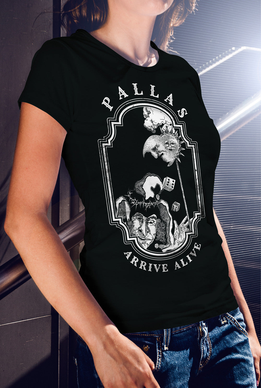 Pallas Arrive Alive  Alternate Design 1 Women's fitted T-shirt<p> In Black, Red and Purple Custom T Shirt by Lets Get Shirty Dot Com