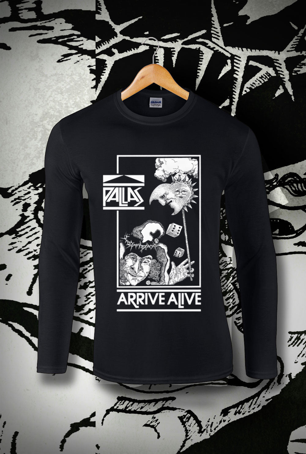 Pallas Arrive Alive Long Sleeve T-Shirt<p> In Black, White, Red and Navy Custom T Shirt by Lets Get Shirty Dot Com