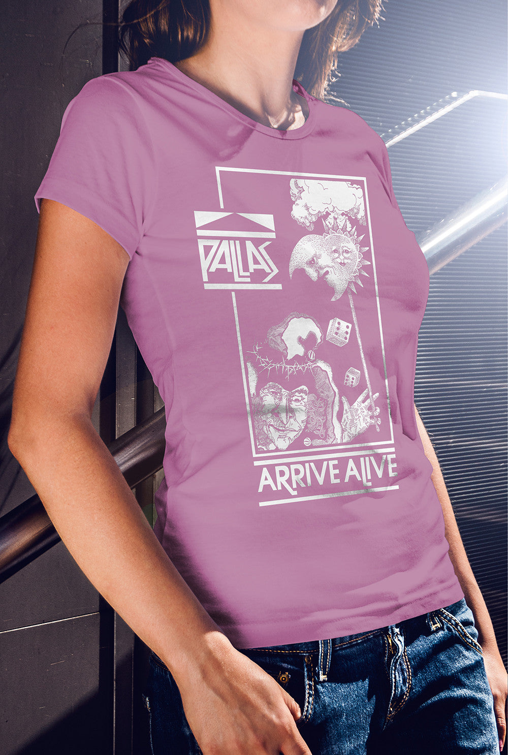 Pallas Arrive Alive Women's fitted T-shirt<p> In Black, White, Red, Purple and Azalea Pink Custom T Shirt by Lets Get Shirty Dot Com