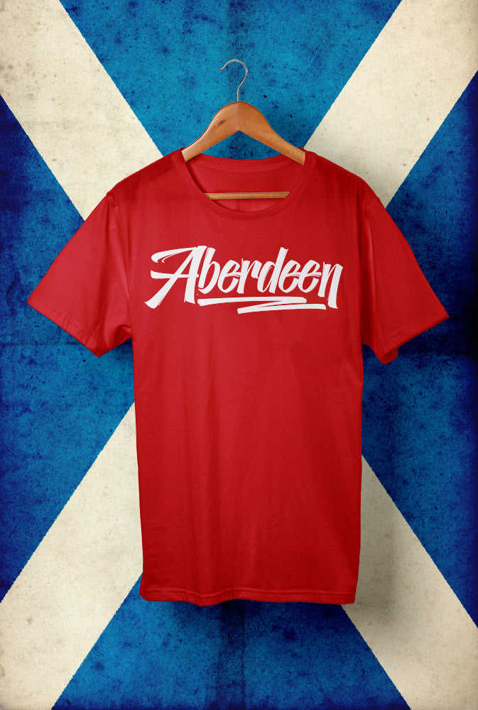 ABERDEEN SCRIPT <p> Unisex Gildan T Shirt In a Range of 10 colours Custom T Shirt by Lets Get Shirty Dot Com