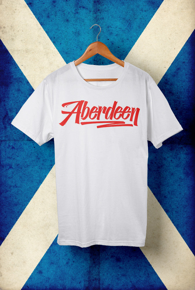 Aberdeen Script, Red Ink, Horizontal <p> Unisex Gildan T Shirt In White, Black, Grey Or Blue Custom T Shirt by Lets Get Shirty Dot Com