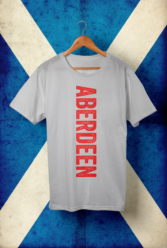 Aberdeen Text, Red Ink, Vertical<p> Unisex Gildan T Shirt In White, Black, Grey Or Blue Custom T Shirt by Lets Get Shirty Dot Com