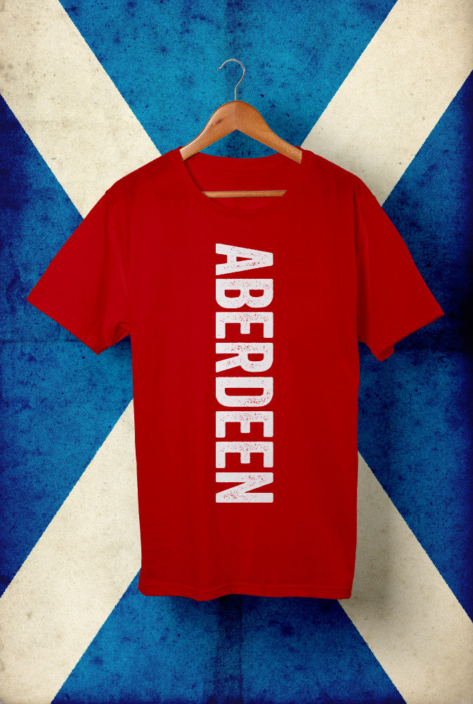 Vertical Aberdeen Text with White Ink <p> Unisex Gildan T Shirt In Red, Grey, Blue and Black Custom T Shirt by Lets Get Shirty Dot Com