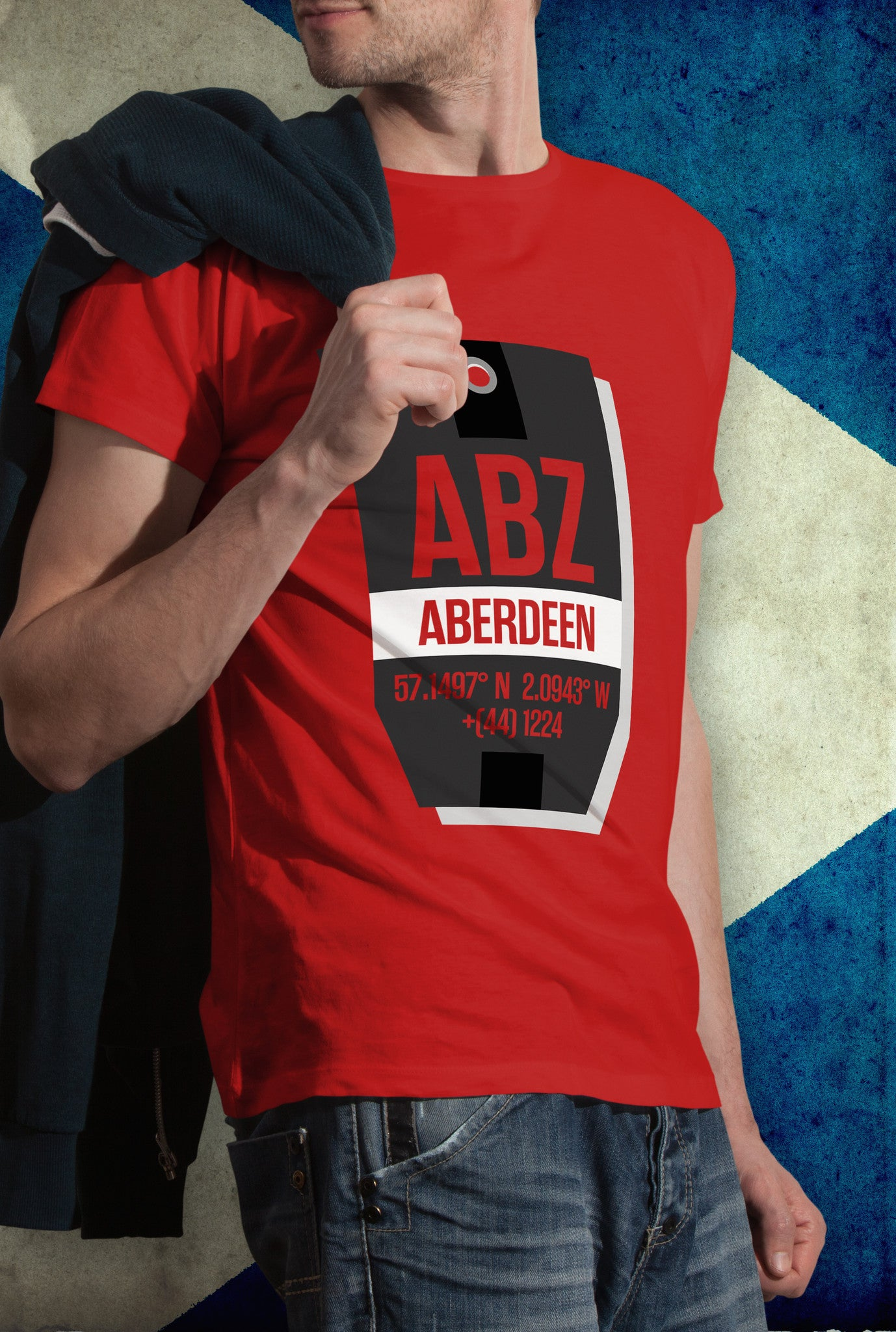 Aberdeen ABZ LABEL<p> Unisex Gildan T Shirt In White, Red & Black Custom T Shirt by Lets Get Shirty Dot Com