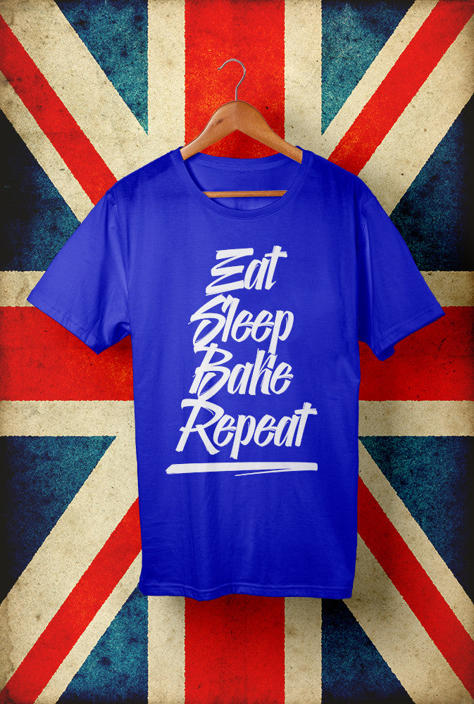 Eat Sleep Bake Repeat Script<p> Unisex Gildan T Shirt In Red White Or Blue Custom T Shirt by Lets Get Shirty Dot Com
