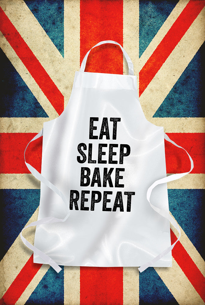 Eat Sleep Bake Repeat Apron Custom T Shirt by Lets Get Shirty Dot Com