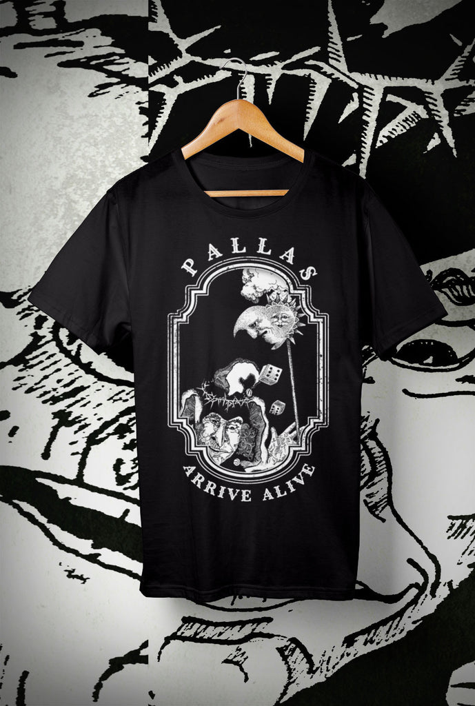 Pallas Arrive Alive ALTERNATE DESIGN 1 Kids T Shirts<p> In Black, Red, Navy and Purple Custom T Shirt by Lets Get Shirty Dot Com