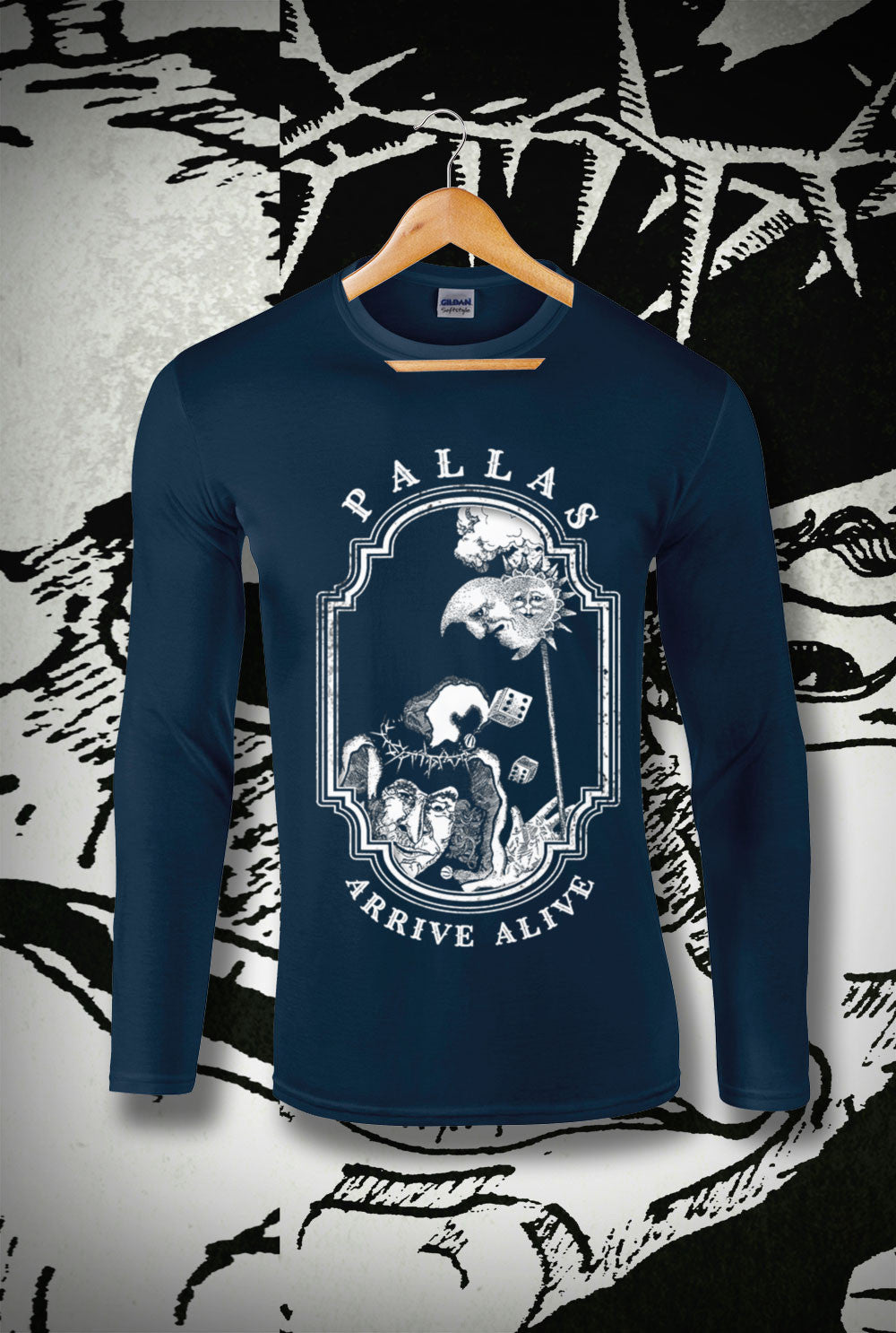 Pallas Arrive Alive Alternate Design 1 Long Sleeve T-Shirt<p> In Black, Red and Navy Custom T Shirt by Lets Get Shirty Dot Com