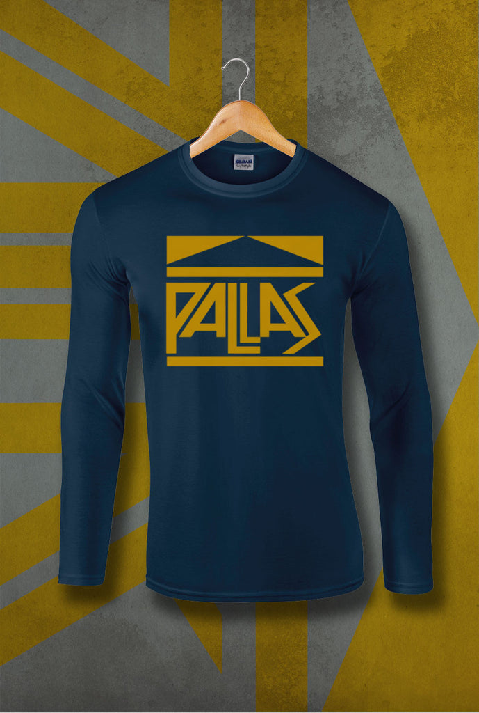Pallas late 70's Logo Long Sleeve T-Shirt<p> In Black, Red and Navy Custom T Shirt by Lets Get Shirty Dot Com