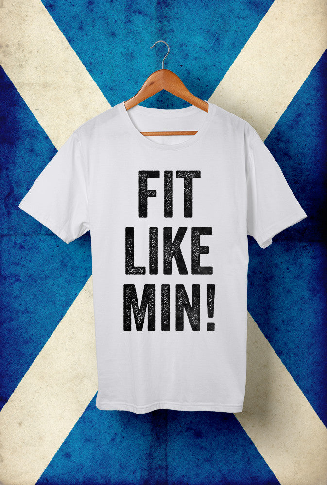 Fit Like Min ! <p> Unisex Gildan T Shirt In Red White Or Blue Custom T Shirt by Lets Get Shirty Dot Com