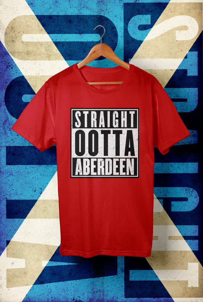 STRAIGHT OOTTA ABERDEEN <p> Unisex Gildan T Shirt In Red White Or Black Custom T Shirt by Lets Get Shirty Dot Com