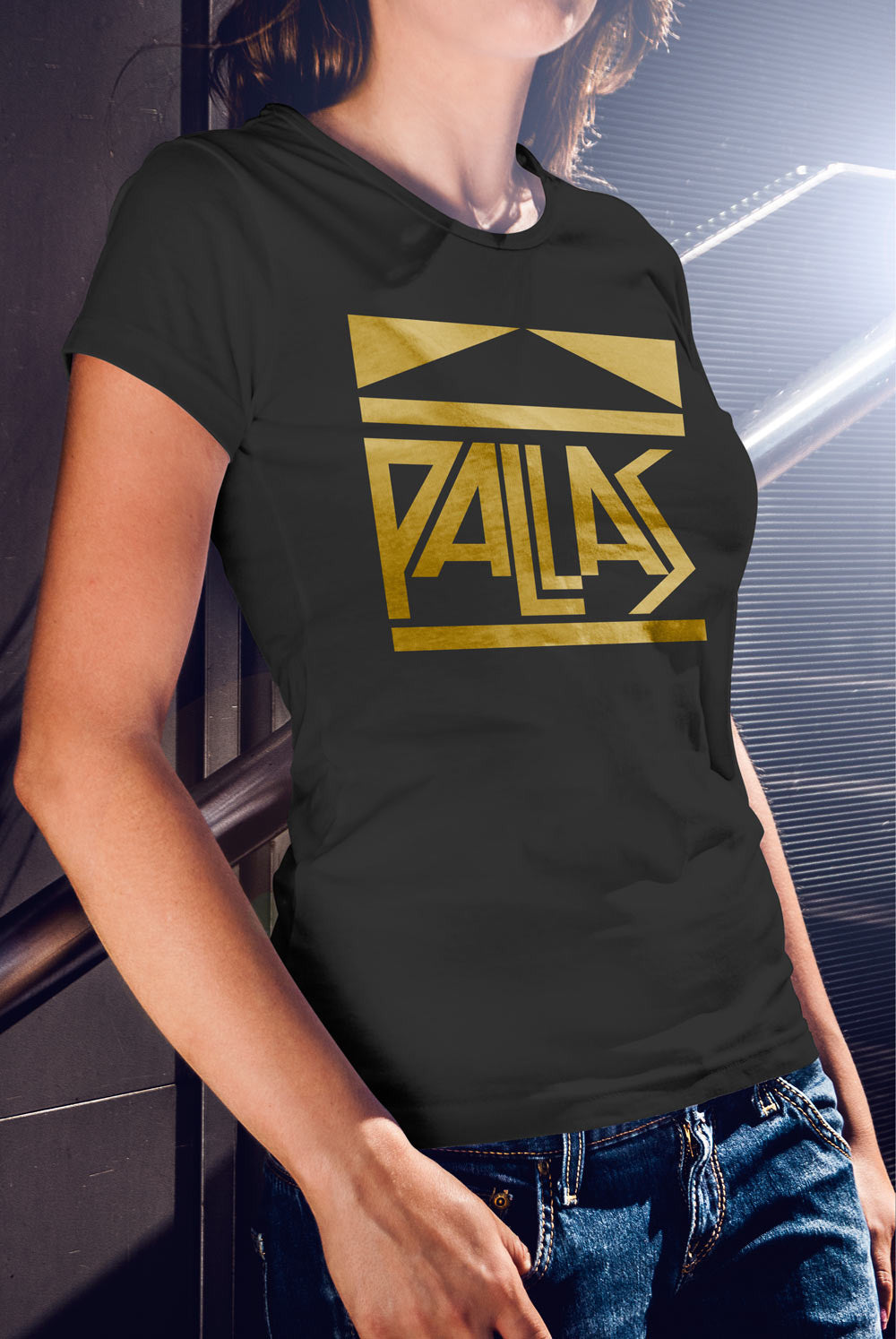 Pallas late 70's Logo Women's fitted T-shirt<p> In Black, Grey, Red and Purple