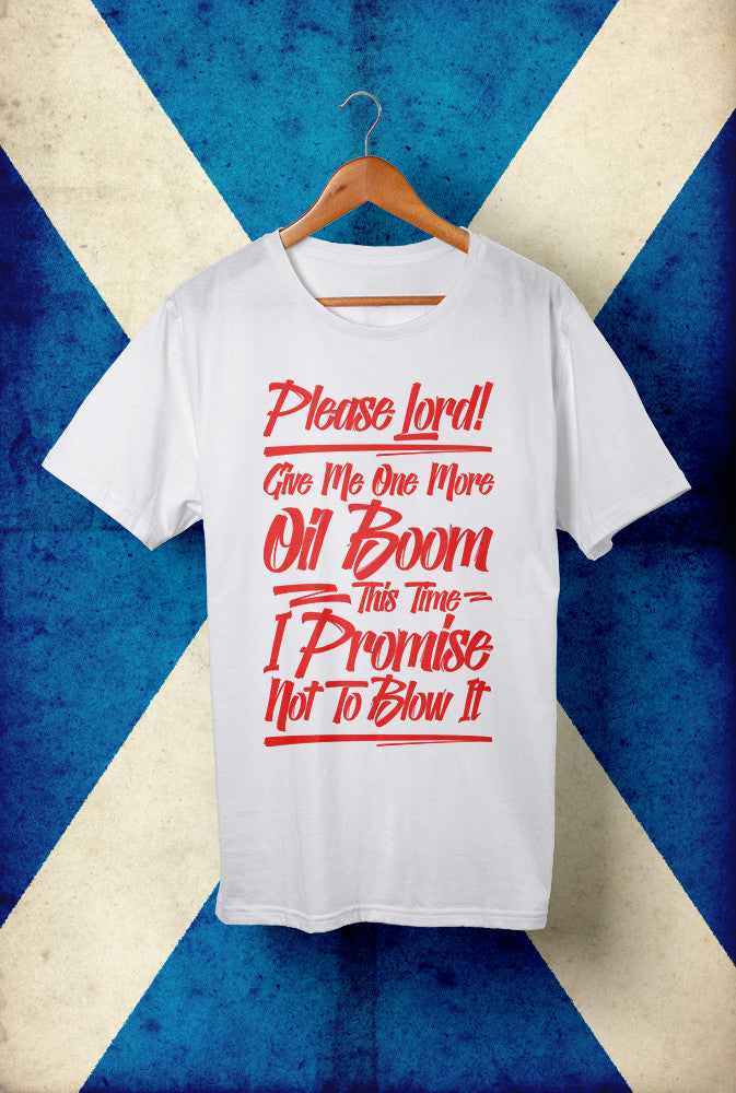 Another Oil Boom, Red Ink<p> Unisex Gildan T In White, Black, Grey Or Blue Custom T Shirt by Lets Get Shirty Dot Com