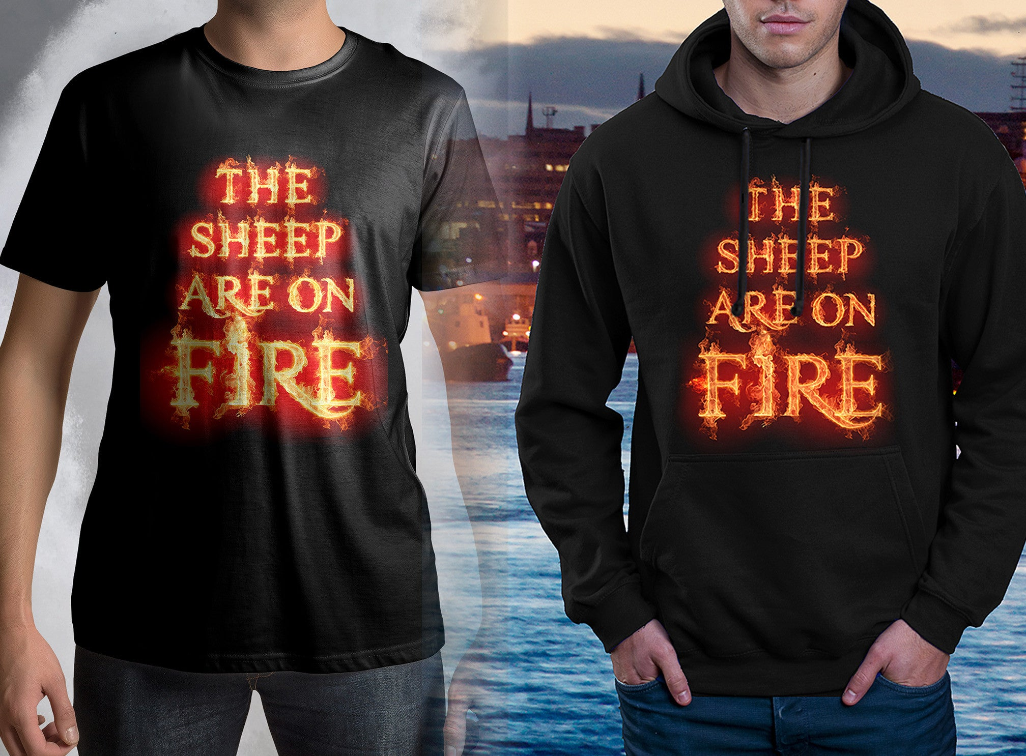 ABERDEEN RED ARMY HOODY::  SHEEP ON FIRE ! <p> In Black or Red