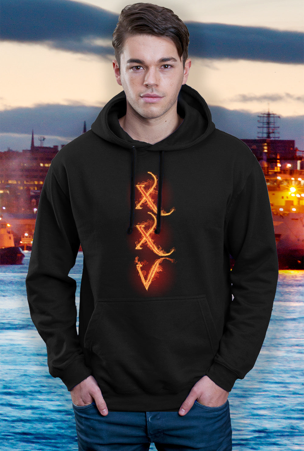 Pallas Hoody ::  XXV FLAME TEXT <p> In Black