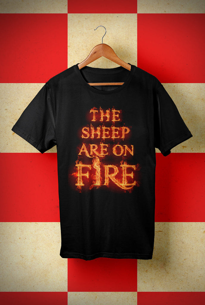 ABERDEEN RED ARMY T SHIRT ::  SHEEP ON FIRE ! <p> Unisex Gildan T Shirt In a Range of colours