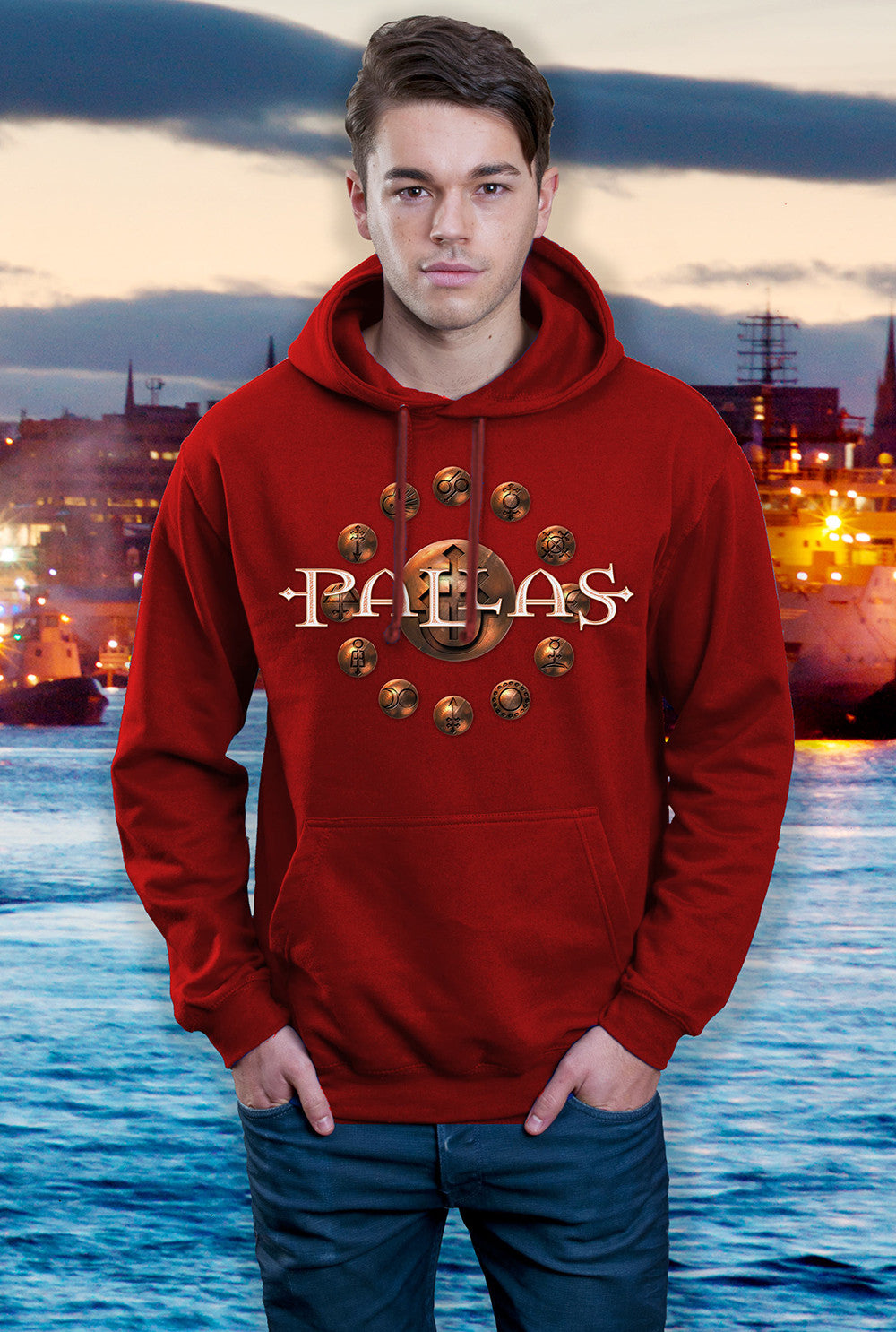 Pallas Hoody ::  Cross and Crucible <p> In Black, Red and Grey