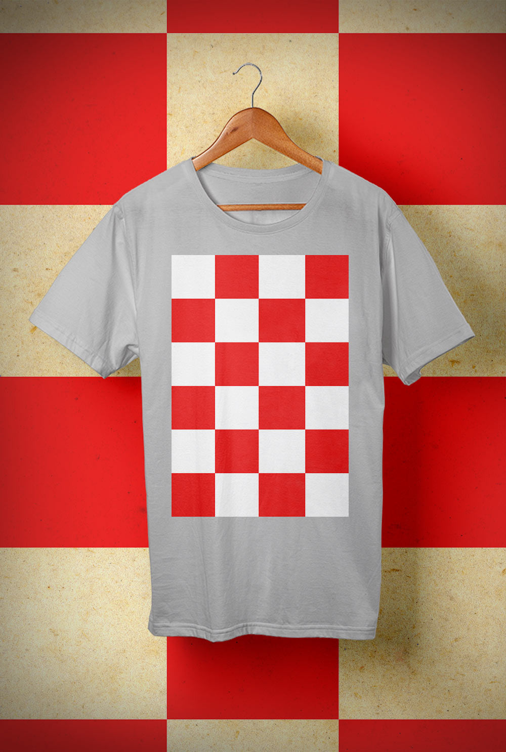 ABERDEEN RED ARMY T SHIRT ::  RED AND WHITE CHECKERS <p> Unisex Gildan T Shirt In a Range of 10 colours Custom T Shirt by Lets Get Shirty Dot Com