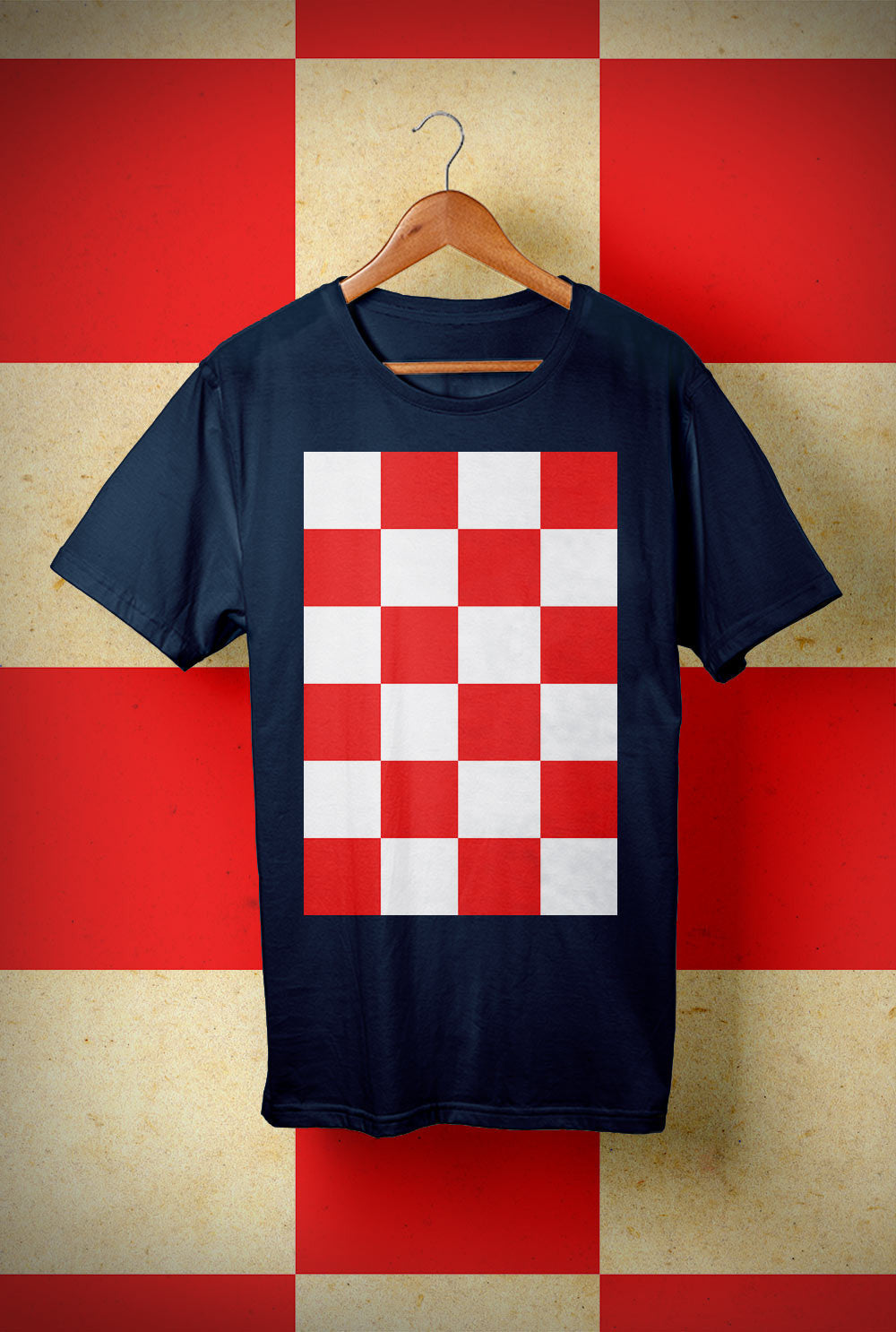 ABERDEEN RED ARMY T SHIRT ::  RED AND WHITE CHECKERS <p> Unisex Gildan T Shirt In a Range of 10 colours