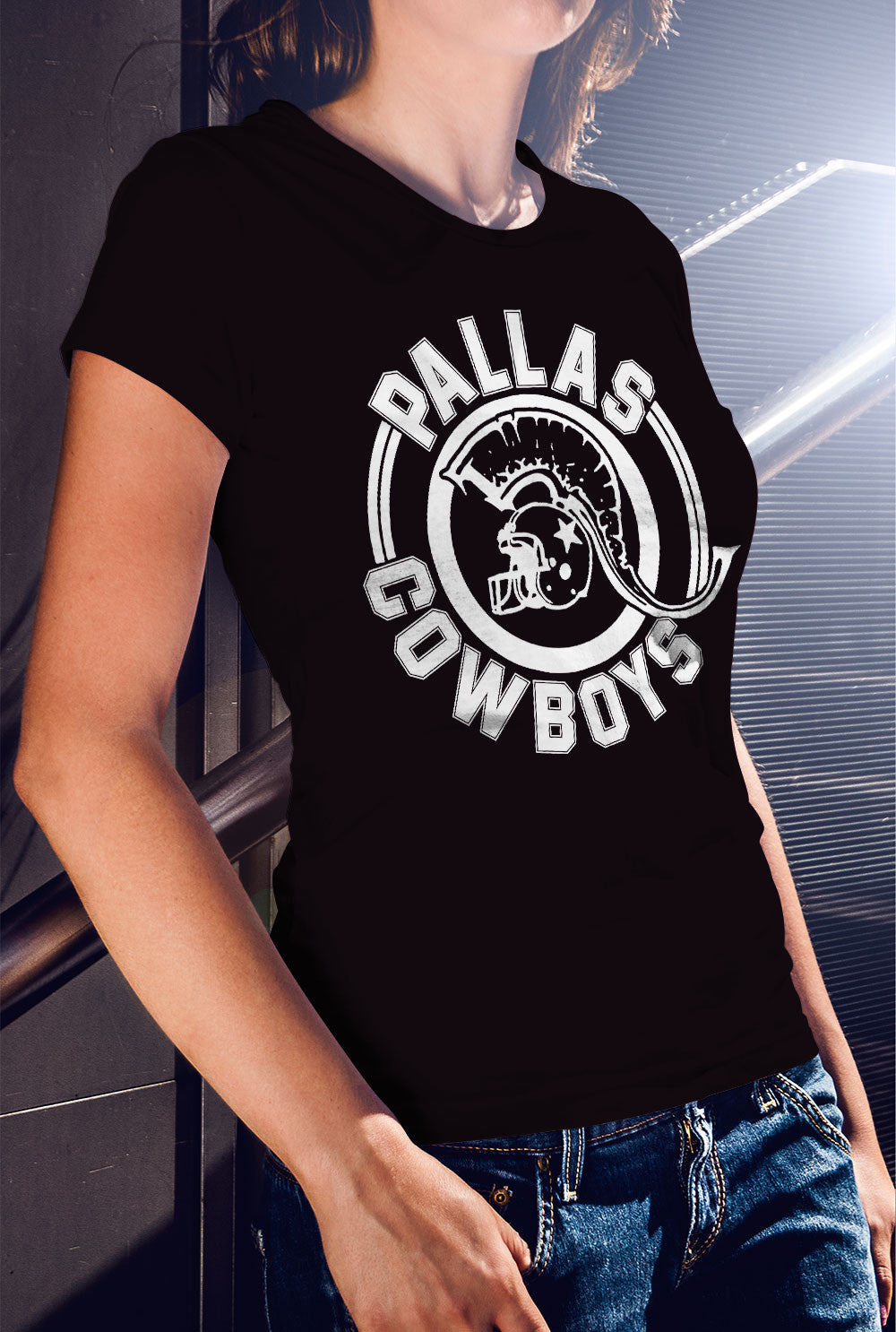 Pallas Cowboys Women's fitted T-shirt<p> In Black, White, Light Blue, Red, Purple and Azalea Pink Custom T Shirt by Lets Get Shirty Dot Com