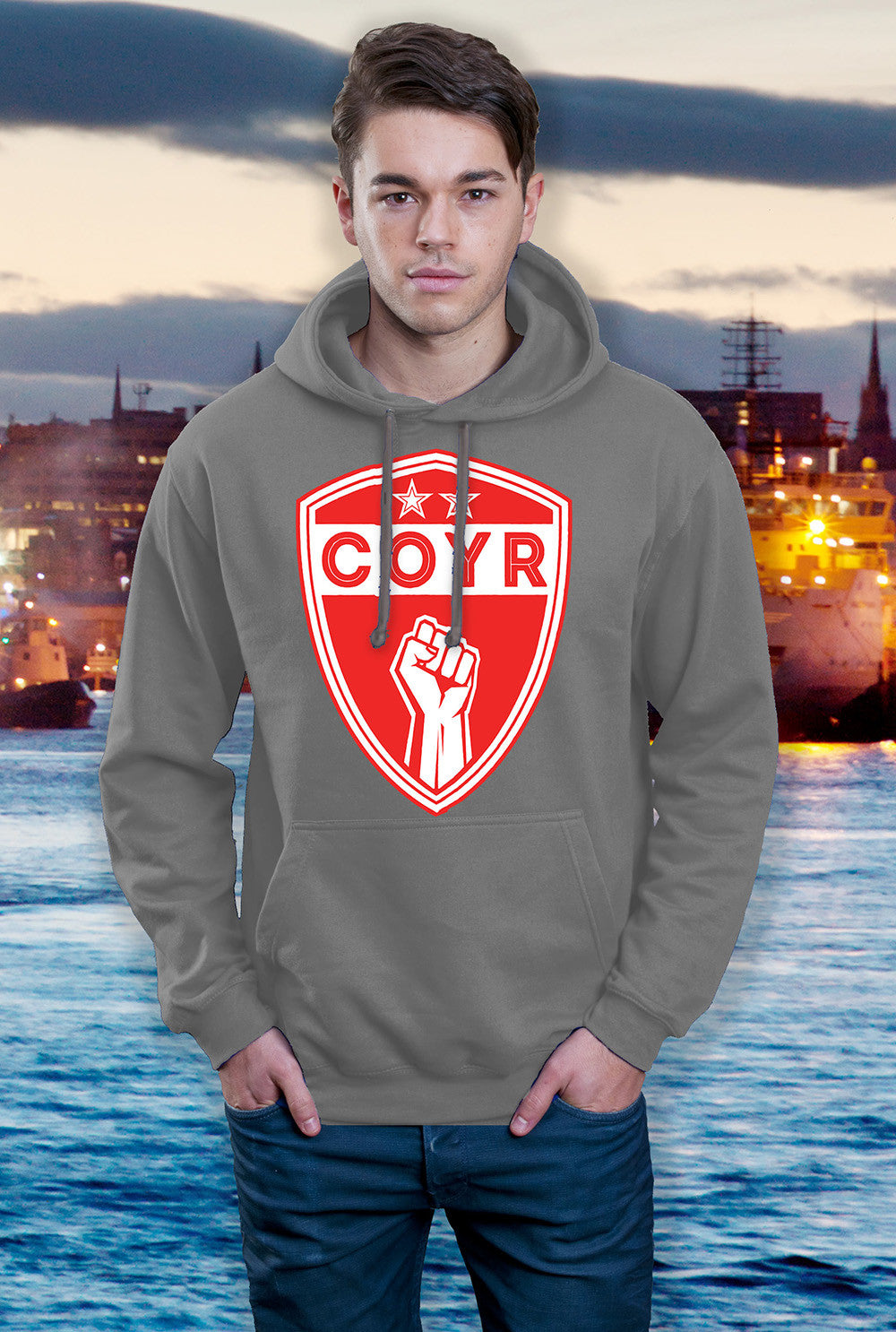ABERDEEN RED ARMY HOODY ::  COYR SHIELD <p> In Black Red or Grey Custom T Shirt by Lets Get Shirty Dot Com