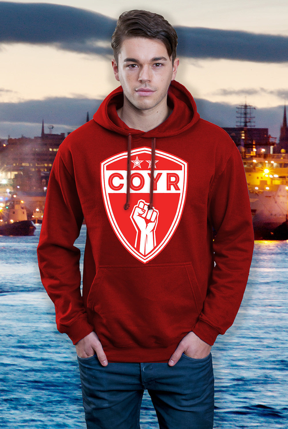 ABERDEEN RED ARMY HOODY ::  COYR SHIELD <p> In Black Red or Grey