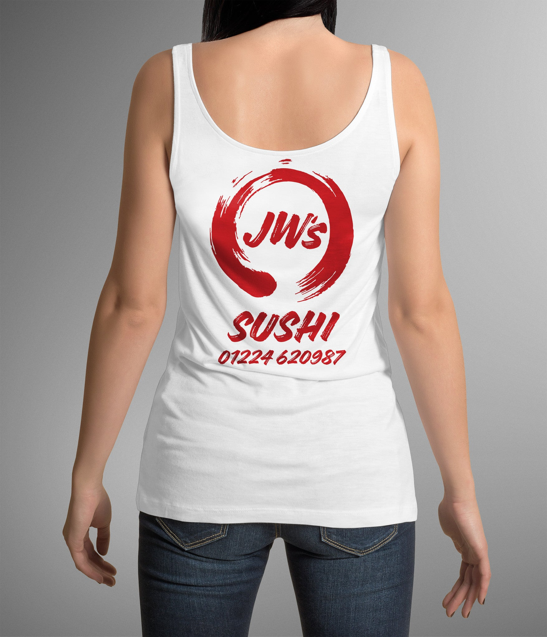 JW Sushi Ladies Tank Top Custom T Shirt by Lets Get Shirty Dot Com