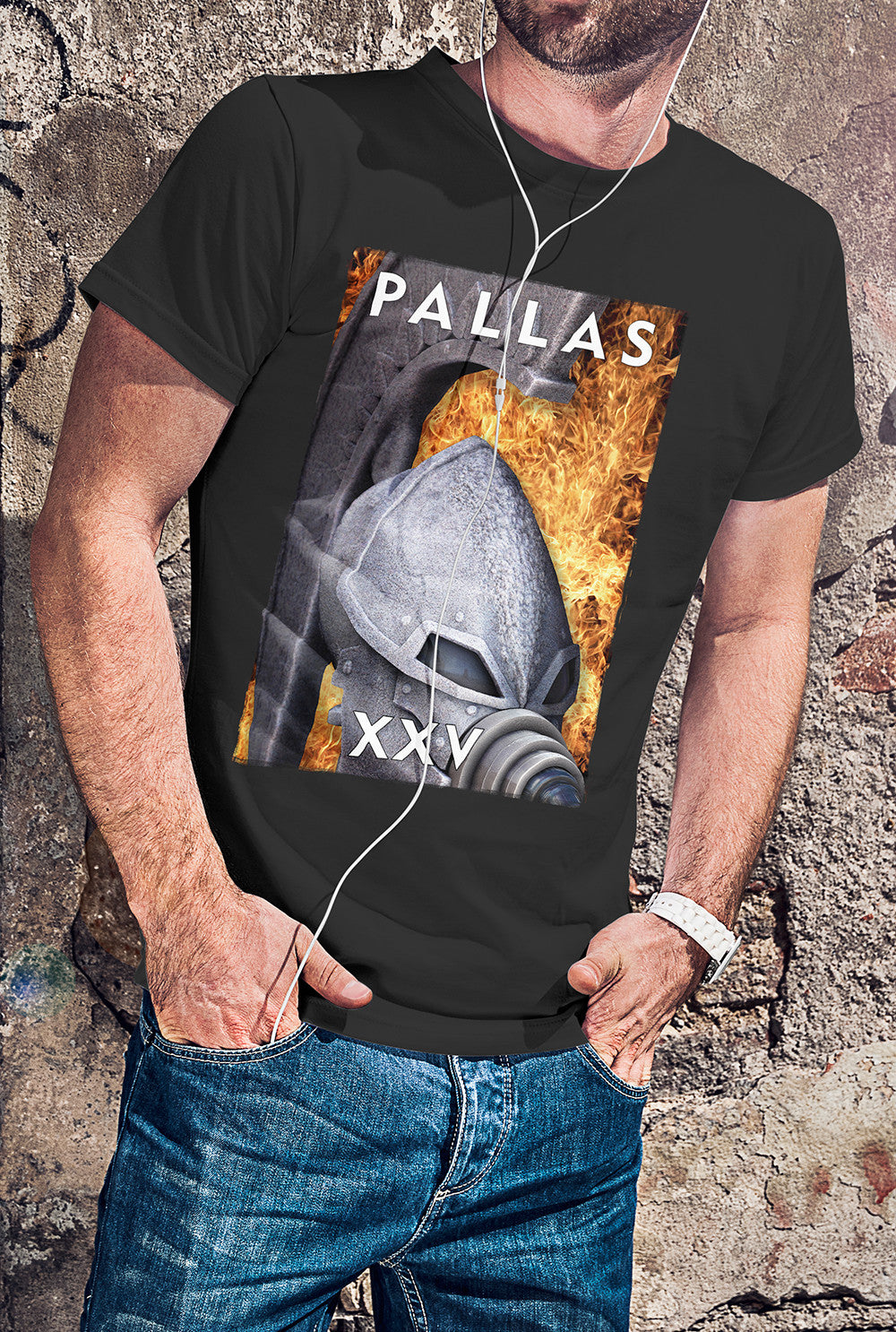 "Pallas :: XXV ""Flaming Helmet 2""<p> Unisex Gildan T Shirt In a Range of 12 colours Custom T Shirt by Lets Get Shirty Dot Com"