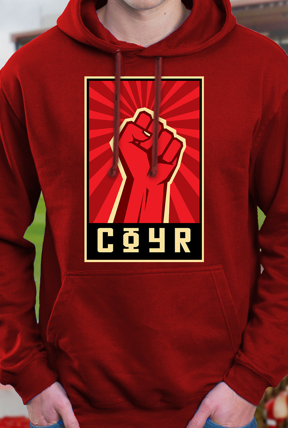 ABERDEEN RED ARMY HOODY ::  COYR SALUTE <p> In Black Red or Grey Custom T Shirt by Lets Get Shirty Dot Com