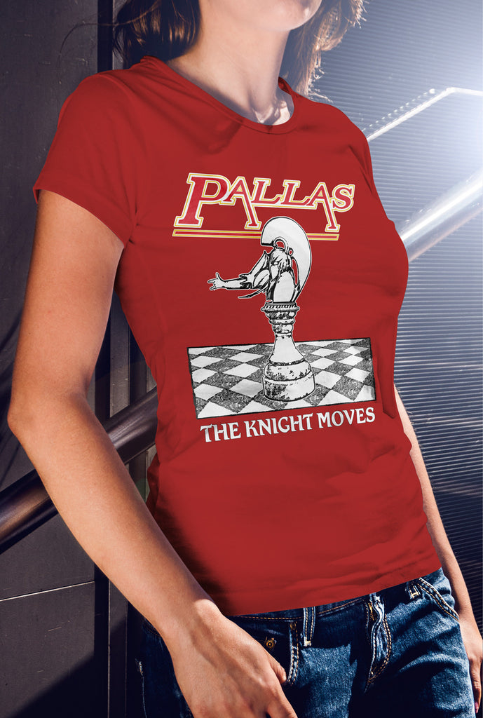 Pallas The Knight Moves Women's fitted T-shirt<p> In 8 Colours Custom T Shirt by Lets Get Shirty Dot Com