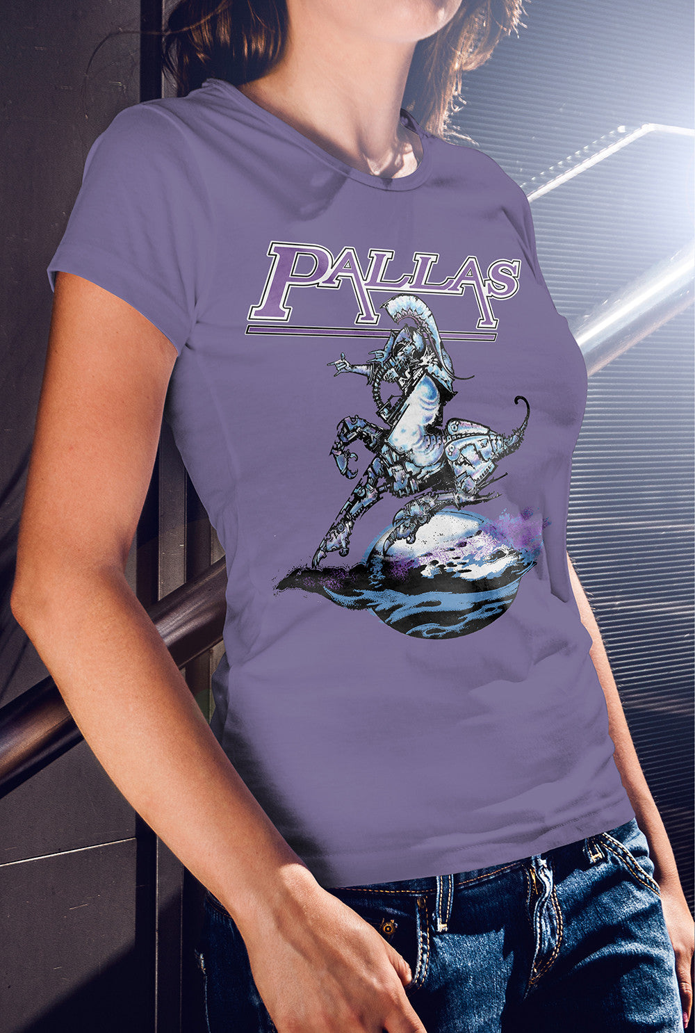 Pallas The Sentinel Women's fitted T-shirt<p> In Black, Grey, Red and Purple Custom T Shirt by Lets Get Shirty Dot Com