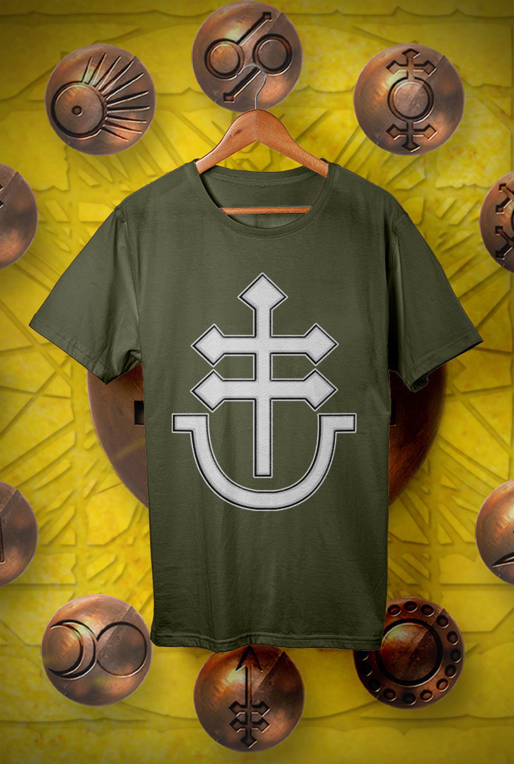 Pallas :: GIANT CROSS AND CRUCIBLE LOGO<p> Unisex Gildan T Shirt In a Range of 12 colours Custom T Shirt by Lets Get Shirty Dot Com