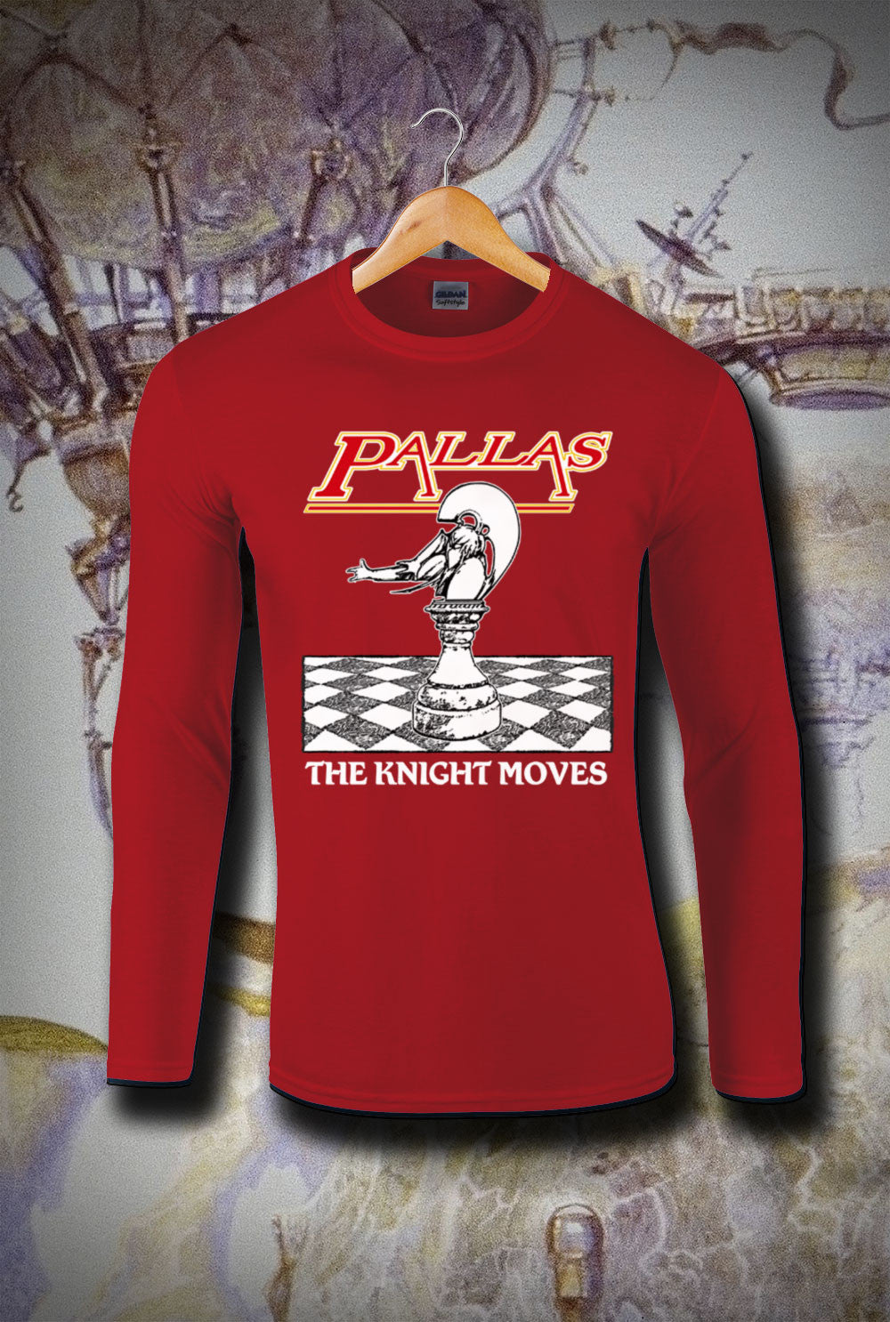 Pallas The Knight Moves Long Sleeve T-Shirt<p> In Black, White, Red and Navy Custom T Shirt by Lets Get Shirty Dot Com