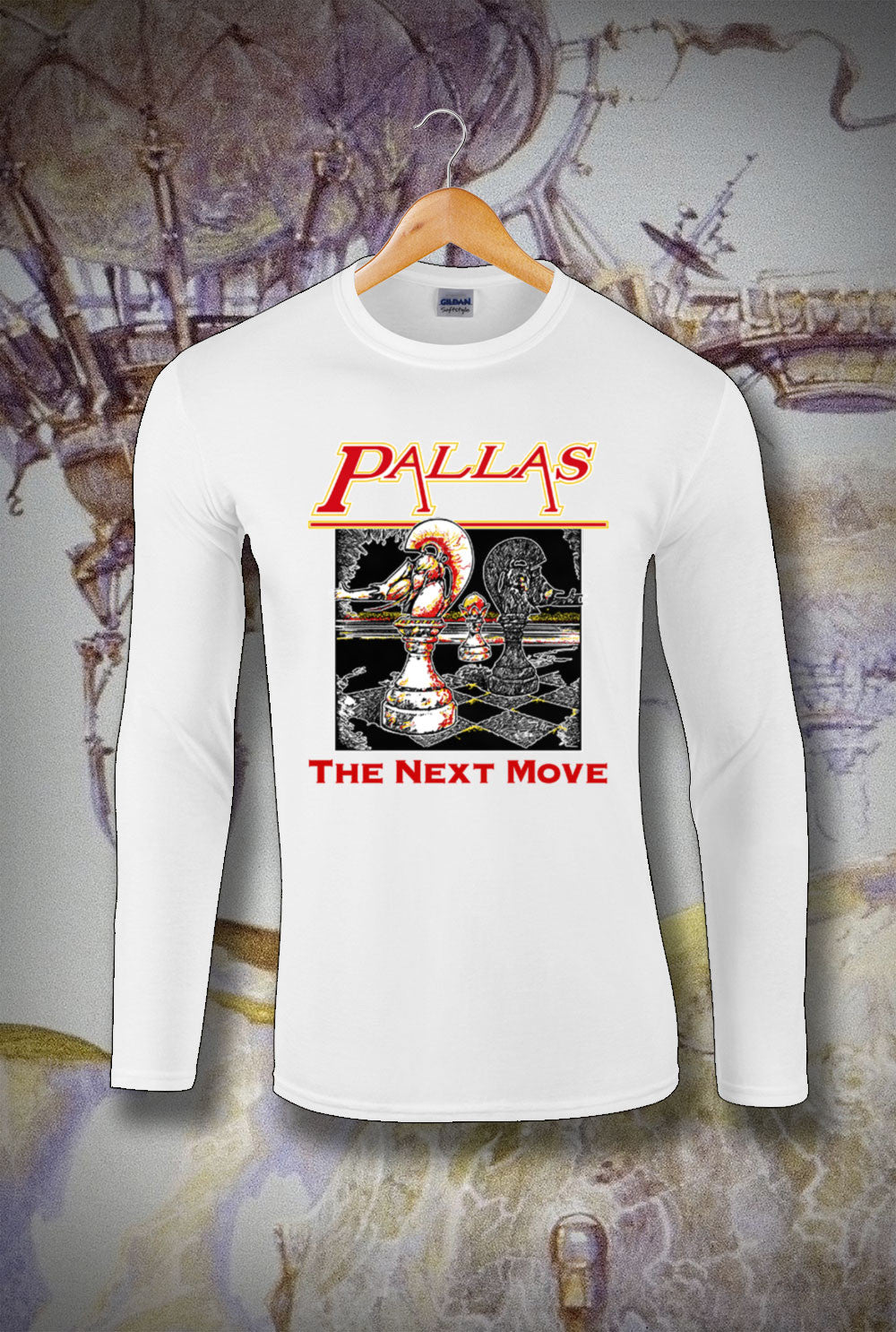 Pallas The Next Move Long Sleeve T-Shirt<p> In Black, White, Red and Navy Custom T Shirt by Lets Get Shirty Dot Com