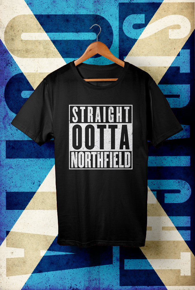 STRAIGHT OOTTA NORTHFIELD <p> Unisex Gildan T Shirt In Red White Or Black Custom T Shirt by Lets Get Shirty Dot Com