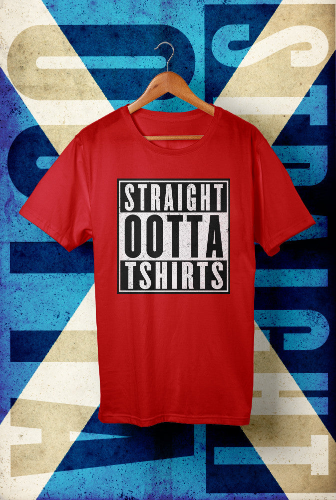 STRAIGHT OOTTA T SHIRTS <p> Unisex Gildan T Shirt In Red White Or Black Custom T Shirt by Lets Get Shirty Dot Com