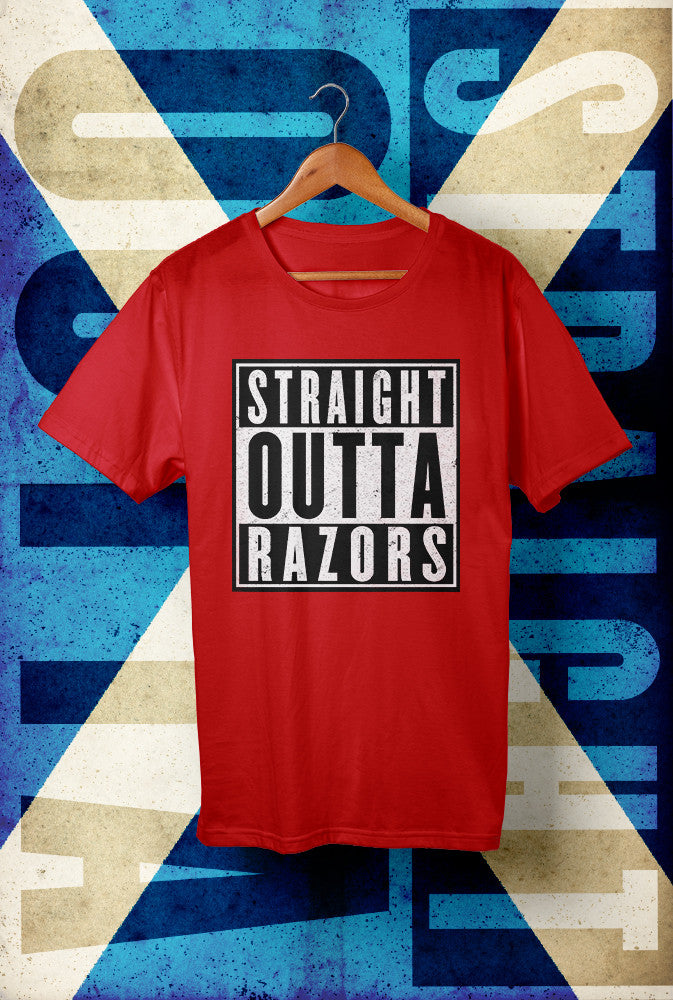 STRAIGHT OUTTA RAZORS !<p> Unisex Gildan T Shirt In Red White Or Black Custom T Shirt by Lets Get Shirty Dot Com
