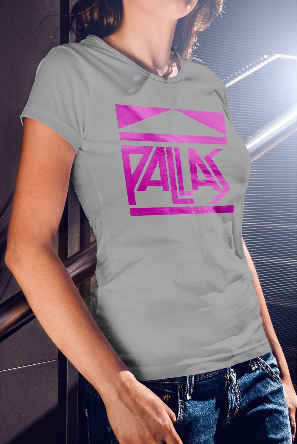 Pallas late 70's Logo Women's fitted T-shirt<p> In Black, Grey, Red and Purple Custom T Shirt by Lets Get Shirty Dot Com
