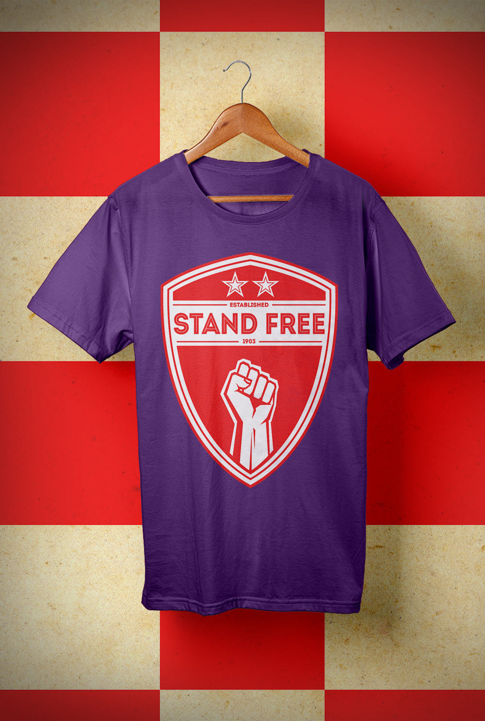 ABERDEEN RED ARMY T SHIRT ::  STAND FREE SHIELD <p> Unisex Gildan T Shirt In a Range of colours Custom T Shirt by Lets Get Shirty Dot Com