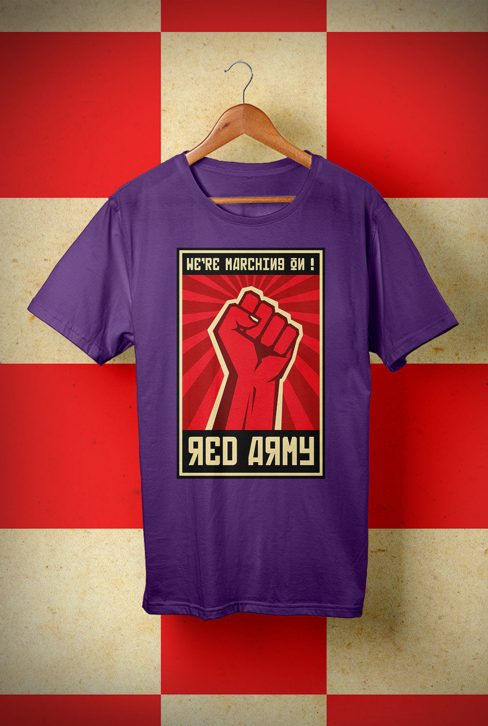 ABERDEEN RED ARMY T SHIRT ::  SALUTE MARCHING ON ! <p> Unisex Gildan T Shirt In a Range of 10 colours Custom T Shirt by Lets Get Shirty Dot Com