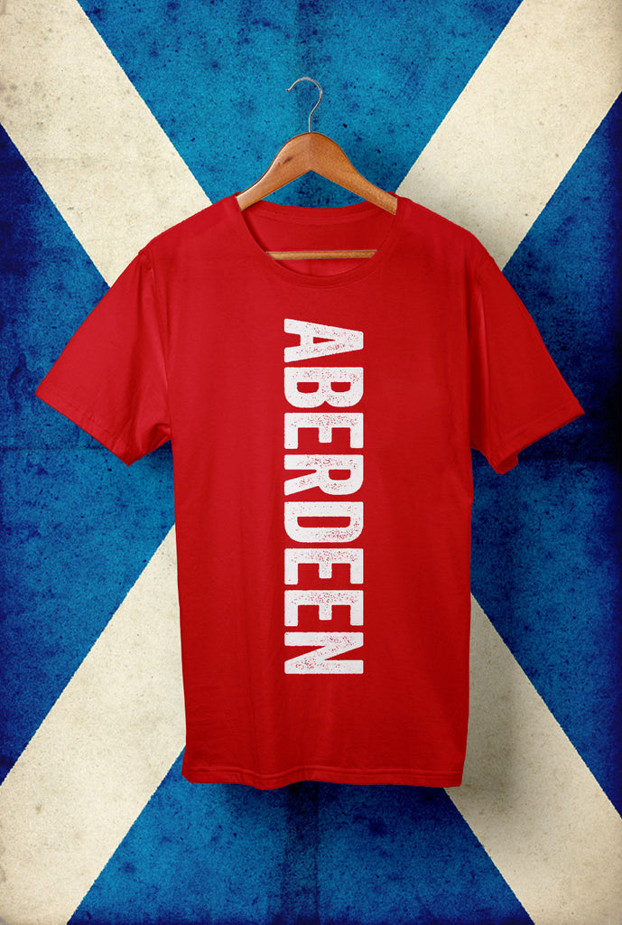 Aberdeen T shirt Vertical Text <p> Unisex Gildan T Shirt In a Range of 10 colours Custom T Shirt by Lets Get Shirty Dot Com