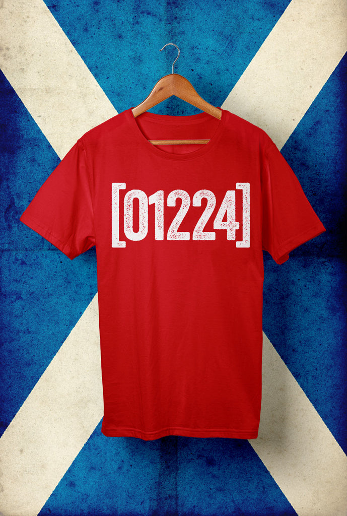 Aberdeen  01224 T shirt Horizontal Text <p> Unisex Gildan T Shirt In a Range of 10 colours Custom T Shirt by Lets Get Shirty Dot Com