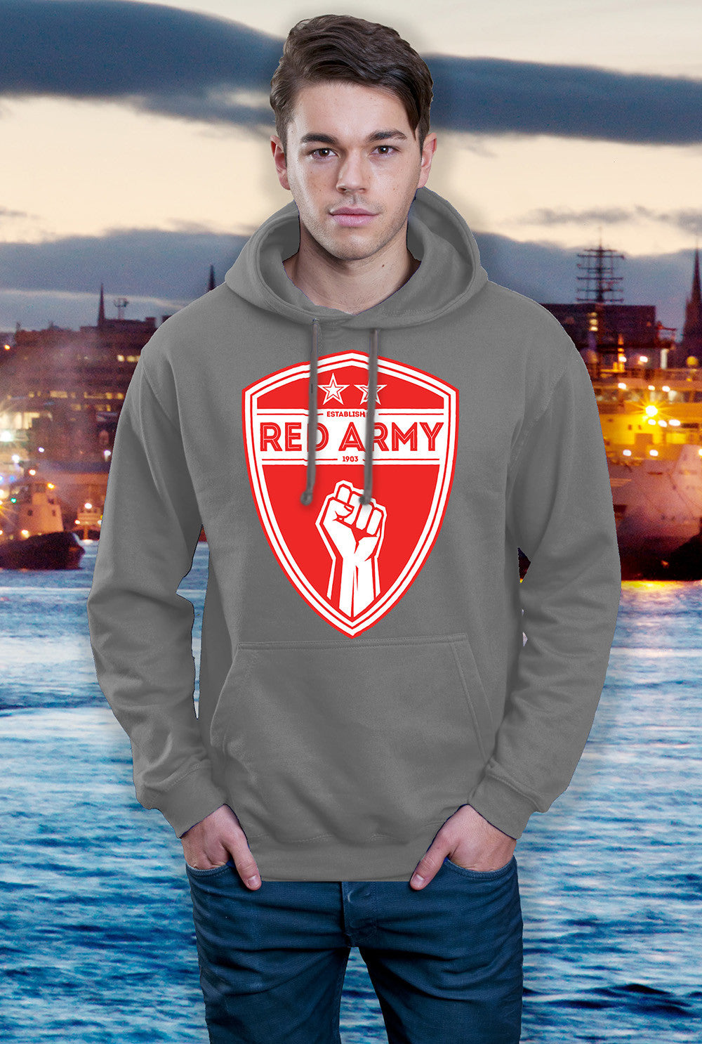 ABERDEEN RED ARMY HOODY ::  RED ARMY SHIELD <p> In Black Red or Grey Custom T Shirt by Lets Get Shirty Dot Com