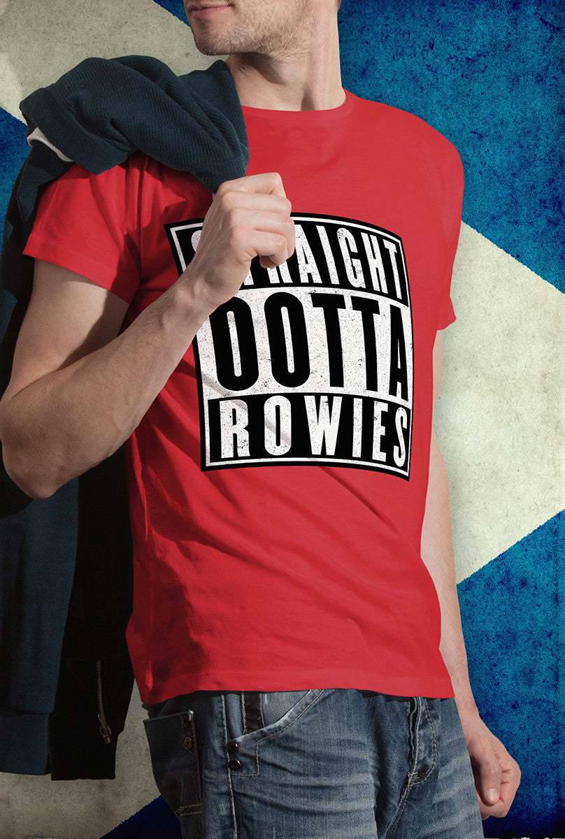 STRAIGHT OOTTA ROWIES !<p> Unisex Gildan T Shirt In Red White Or Black Custom T Shirt by Lets Get Shirty Dot Com