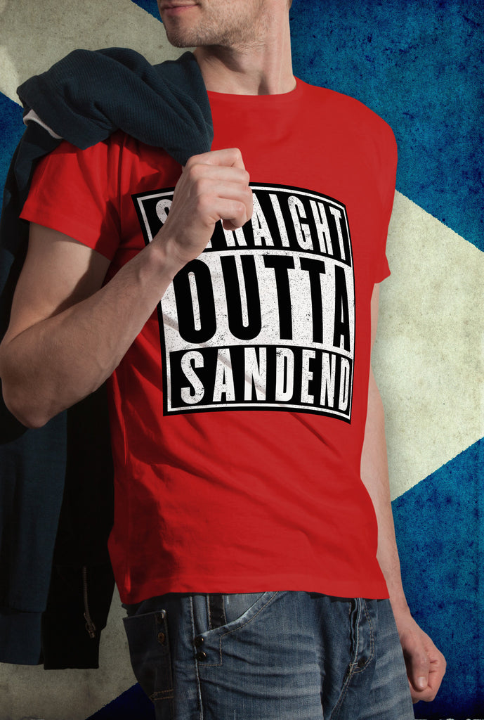 STRAIGHT OUTTA SANDEND !<p> Unisex Gildan T Shirt In Red White Or Black Custom T Shirt by Lets Get Shirty Dot Com