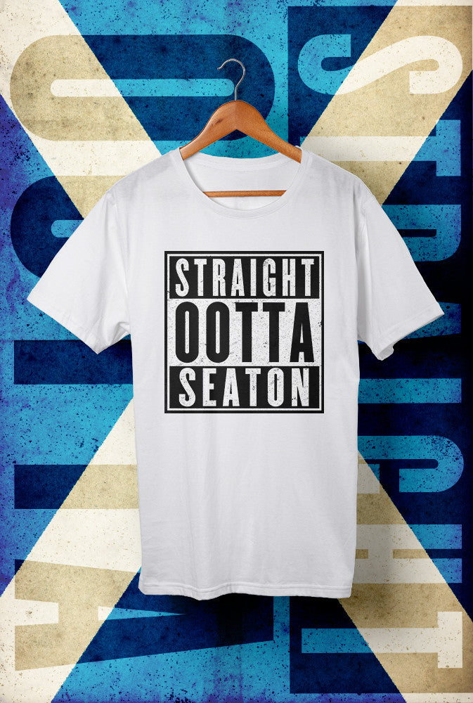 STRAIGHT OOTTA SEATON ! <p> Unisex Gildan T Shirt In Red White Or Black Custom T Shirt by Lets Get Shirty Dot Com