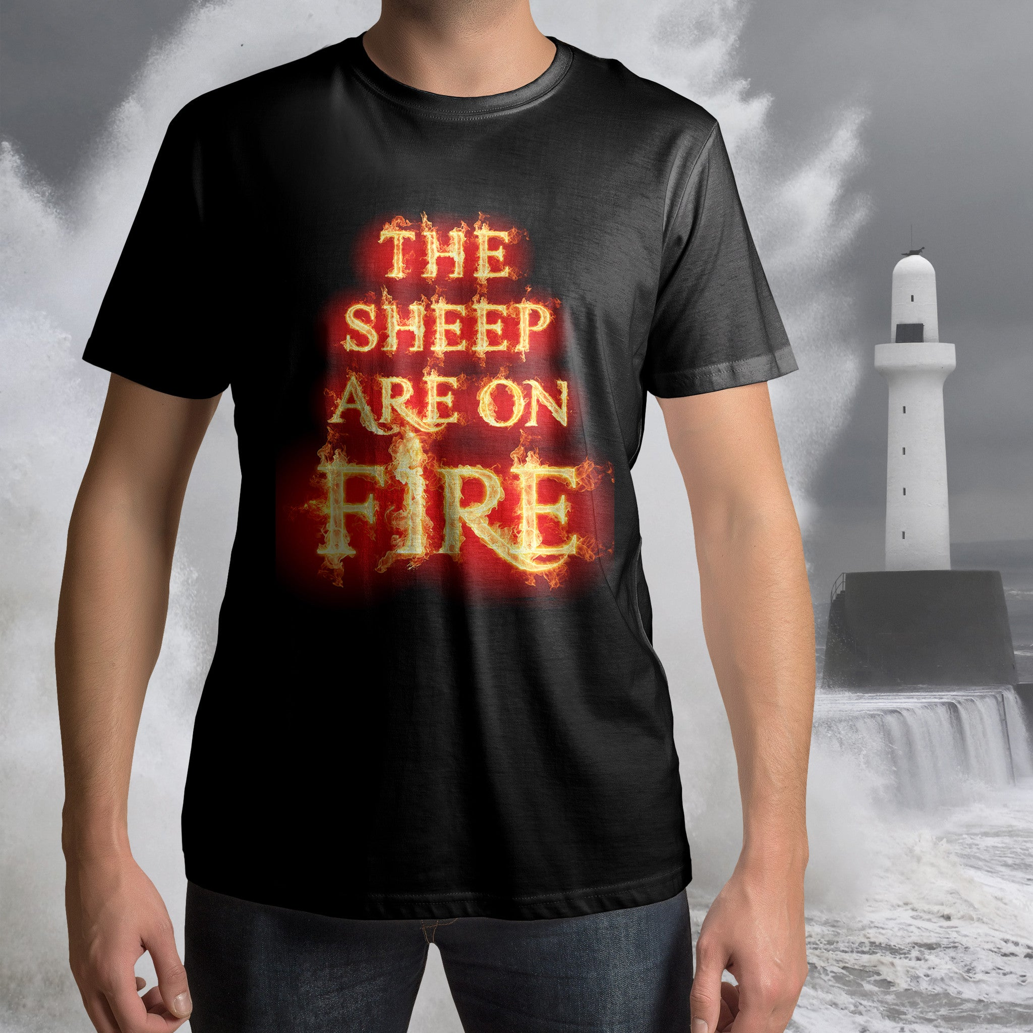 ABERDEEN RED ARMY T SHIRT ::  SHEEP ON FIRE ! <p> Unisex Gildan T Shirt In a Range of colours Custom T Shirt by Lets Get Shirty Dot Com